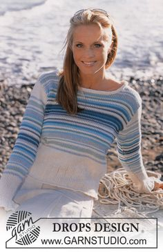 Ravelry: Striped sweater pattern by DROPS design Free Knitting Patterns For Women, Sweater Knitting Patterns, Drops Design, Pull Bleu Marine, Baby Romper Pattern, Free Pattern, Knit Crochet, Knitwear, Sweaters For Women