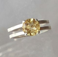 Citrine and sterling silver hand crafted ring by metalsmith Tahoe Jewelry and Art