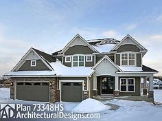 "Plan No: W73348HS Style: Craftsman, Exclusive, Northwest Total Living Area: 3,477 sq. ft. Main Flr.: 1,689 sq. ft. 2nd Flr: 1,788 sq. ft. Basement Unfinished: 291 sq. ft. Optional Finished LL: 1,298 sq. ft. Attached Garage: 3 Car, 759 sq. ft. Bedrooms: 4/5 Full Bathrooms: 3/4 Half Bathrooms: 1 Width: 53' Depth: 58'6"" Exterior Walls: 2x6"