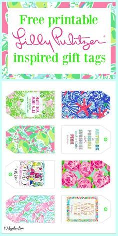 Free printable Lilly Pulitzer inspired gift tags or labels: great for birthday and hostess gifts. | 11 Magnolia Lane