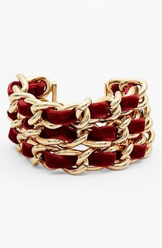 Nordstrom 3-Row Velvet Woven Chain Bracelet