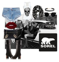 """""""Kick Up the Leaves (Stylishly) With SOREL: CONTEST ENTRY"""" by ghita-ananda on Polyvore featuring SOREL, OneTeaspoon, Humble Chic, Alexander McQueen, Lime Crime and sorelstyle"""