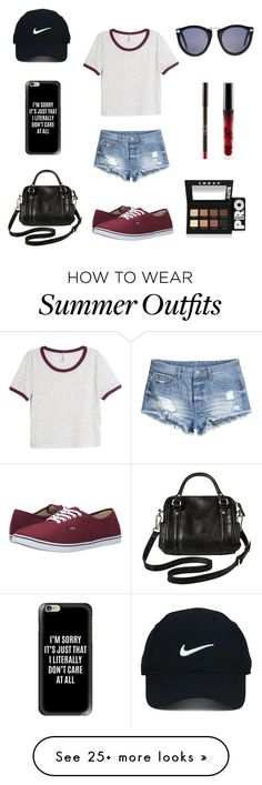 """""""Summer outfit"""" by abbylemke on Polyvore featuring H&M, Vans, Casetify, Merona, Nike Golf, LORAC and Polly"""
