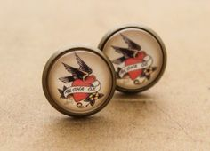 Sailor Jerry Earrings  Swallow Nautical by DubiousDesign on Etsy