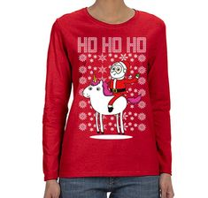 d20825c5b XtraFly Apparel Women's Santa Riding Unicorn Pony Ho Ho Ugly Christmas Long  Sleeve T-Shirt