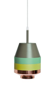 The Pran Pendant Lamp is made in Budapest from copper, powder coated aluminium and brushed aluminium with a lacquer finish.