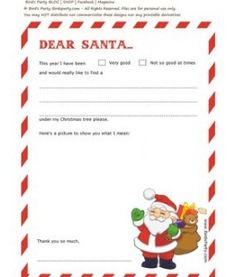 Dear Santa Letter Templates By Birds Party Christmas Pinterest - Dear santa letter template