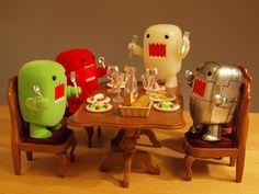 robot domo,white domo,red domo,and lime green domo
