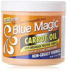 Blue Magic Carrot Oil Leave-In Styling Conditioner rich in 100% pure Carrot Oil to replenish moisture balance required by the hair. Regular use gives shine and softness to hair. Carrot Oil For Hair, Carrot Seed Oil, Olive Oil Hair, Hair Color Cream, Hair Milk, Hair Lotion, Flax Seed Recipes, Blue Magic, Vegetable Protein