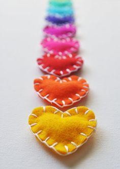 personalized wool felt heart magnets