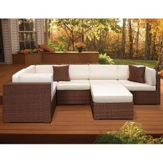 Atlantic Contemporary Lifestyle Bellagio Brown 6-Piece Patio Sectional Seating Set with Off-White Cushions PLI BELL6BG at The Home Depot - Mobile