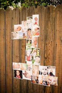 "Photos from birth to one in the shape of ""1"". If no fence or wall available, glue to foam board and hang."