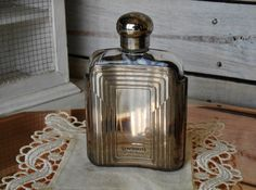 Art Deco Perfume Bottle Cacharel Pour L'Homme - Limited Edition Perfume Cacharel in Hip Flask - New Art Deco - New Art Nouveau Gift - 1980s