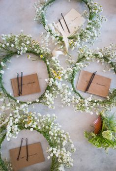 We made the flower-girl halos from baby's breath and field daisies from the farm. I love baby's breath—it's such a simple and sweet flower.