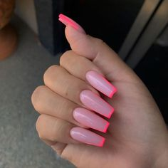 In summer I always like to wear a lot of color on my nails. Not only on my nails but my clothing too haha. So these super cool nails are perfect for upcoming spring and summer. They are colorful but… Pink Gel, Pink Acrylic Nails, Pink Acrylic Nail Designs, Pink Tip Nails, Square Acrylic Nails, Acrylic Nails Coffin Ballerinas, Short Nails Acrylic, Coffin Nail Designs, Natural Acrylic Nails