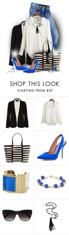 """""""She's Black and Blue"""" by rockreborn ❤ liked on Polyvore featuring River Island, Pepe Jeans London, Nancy Gonzalez, Vince Camuto, Dorus Mhor, Linda Farrow and Jordan Alexander"""