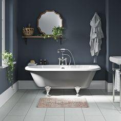 The Bath Co. Dulwich iron grey back to wall roll top bath with chrome ball and claw feet 1700 x 750 - main Bathroom ideas color palettes Navy Bathroom, Grey Bathrooms, Family Bathroom, Luxury Bathrooms, Loft Bathroom, Master Bathroom, Modern Bathroom Design, Bathroom Interior Design, Design Bedroom