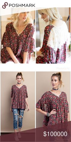 Gorgeous in red and charcoal crochet detail tunic! BELL SLEEVE RAYON CHALLIE PRINTED BABYDOLL FEATURED BACK CROCHET PATCH DETAILING V-NECK TOP. 100% RAYON Tops Tunics