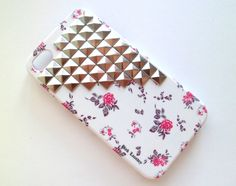 SALE Free Shipping US White Vintage Floral Silver Studded Iphone 4 4S Rubberized Hard Case with Front Lip Cover AT Verizon Sprint. $22.50, via Etsy.