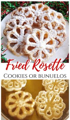 Fried Rosette Cookies or bunuelos are a light and crispy treat. It's like a cookie chip and so yummy! Fried Rosette Cookies or bunuelos are a light and crispy treat. It's like a cookie chip and so yummy! Chocolate Marshmallow Cookies, Chocolate Chip Shortbread Cookies, Toffee Cookies, Spice Cookies, Yummy Cookies, Dessert Chocolate, Rosettes Cookie Recipe, Rosette Recipe, Rosette Cookies