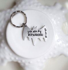 Superhero Keychain Personalized Bat You Are My Be Your Own Superhero Date Wedding Anniversary Boyfriend Gift