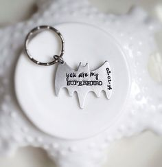 Superhero Keychain Personalized Bat You Are My Be Your Own Superhero Date Wedding Anniversary Boyfriend Gift