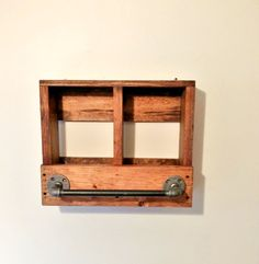Bathroom Towel Rack Wood Shelf Industrial Iron by TwinOakRustics