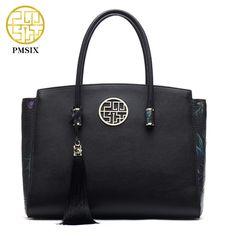 Limited Offer $89.90, Buy PMSIX Brand Designer Women Handbags Genuine Leather Tassel Ladies Shoulder Bag Black Real Leather Large Tote Bag P110012