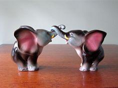 Vintage Elephant Salt and Pepper Shaker Set by winkinpossum, $12.00