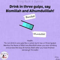 Drinking in three gulps quenches the Thirst and is Sunnah! Islam Hadith, Allah Islam, Islam Muslim, Islam Quran, Islamic Inspirational Quotes, Religious Quotes, Islamic Quotes, Quran Verses, Quran Quotes