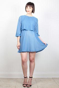 Vintage Blue Dress Mini Dress 1980s Dress by ShopTwitchVintage