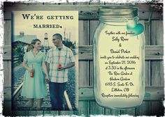 Teal rustic save the date printable you print by OldOwlPress