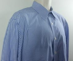 Paul Fredrick Mens Imperial Blue White Checked French Cuff Dress Shirt 15.5 34