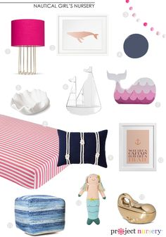 Girl's Nautical Nursery Design Board - love the pops of color and gold!