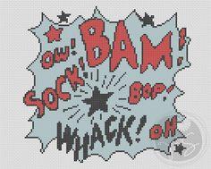 Bam! Whack! Comic style pop art cross stitch pattern