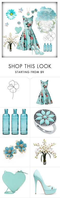 """Blue Daisy"" by neesyrn on Polyvore featuring Blume, Cultural Intrigue, Kenneth Jay Lane, Nearly Natural, Christopher Kane, Casadei, Yazbukey and 14th & Union"