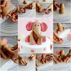 how to make sugar paste elephant standing on ball - Google Search