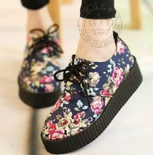 2013 Vintage Floral Lace Up Punk Goth High Platform Skull Flat Creeper Shoes T1