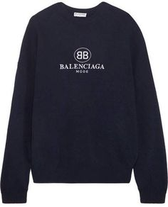Balenciaga Embroidered Stretch Wool And Cashmere-blend Sweater - Navy Aesthetic Fashion, Aesthetic Clothes, Chanel Outfit, Womens Fashion For Work, Fashion Fall, Casual Outfits, Fashion Outfits, Workout Accessories, Crop Top Shirts
