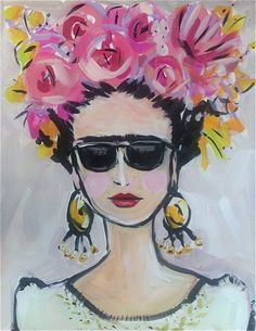 Frida Kahlo Painting large flowers by DevinePaintings on Etsy
