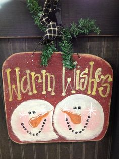 cute snowman wood craft hand painted