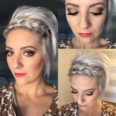 Quick #dirtyhairday idea to get you through the post turkey and Black Friday shopping hangovers. Use a dry powder to give the hair extra bulk and grip before you put the #dutchbraid in. Tug on each side of the braid working your way down to stretch it out. Secure with an elastic and Bobby pin in place. Tease the hair behind the braid and cover your pin. Hope everyone had a great Thanksgiving. #bringonchristmas #pancakebraid #shorthair #shorthairbraids #dirtyhairideas #emilyandersonstyling