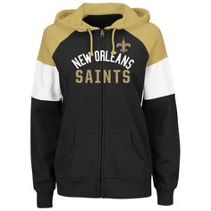 New Orleans Saints Majestic Women's Hot Route Full-Zip Hoodie - Black