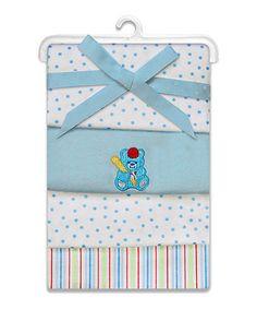 SpaSilk Blue Cuddle Bear Flannel Receiving Blanket Set by SpaSilk #zulily #zulilyfinds