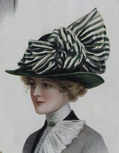 Source of today's featured fashion: Ladies Home Journal (March, 1912) | hat with striped ribbon