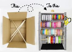 diy washi tape organizer dispensor from a box, craft rooms, crafts, how to… Ribbon Organization, Ribbon Storage, Craft Organization, Diy Washi Tape Organizer, Washi Tape Crafts, Washi Tapes, Diy Washi Tape Dispenser, Diy Washi Tape Storage, Diy Organizer