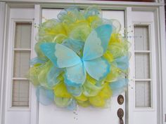 Springtime Bufferfly Deco Mesh Wreath