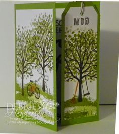 First Friday PDF of the month on my blog. Stampin' Up! Sheltering Tree stamp set. This is a Tear-off Bookmark Card. I also have a video on Youtube. Debbie Henderson, Debbie's Designs.