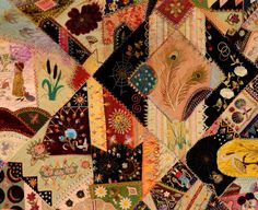Extraordinary Victorian Crazy Quilt | From a unique collection of antique and modern quilts at http://www.1stdibs.com/furniture/folk-art/quilts/