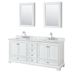 Wyndham Collection Deborah 72 in. Double Vanity in White with Marble Vanity Top in White Carrara with White Basins and Medicine Cabinets - The Home Depot Vanity Set With Mirror, Cultured Marble Vanity Top, Modern Bathroom, Double Vanity Bathroom, Marble Vanity Tops, Wyndham Collection, Vanity, Bathrooms Remodel, Bathroom Furniture